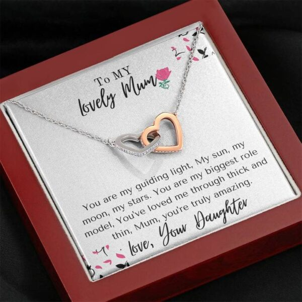 Amazing Mum Mothers Day Gift - Cubic Zirconia Stones, Interlocked Necklace1d-mahogany