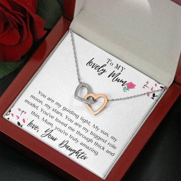 Amazing Mum Mothers Day Gift - Cubic Zirconia Stones, Interlocked Necklace1e-mahogany