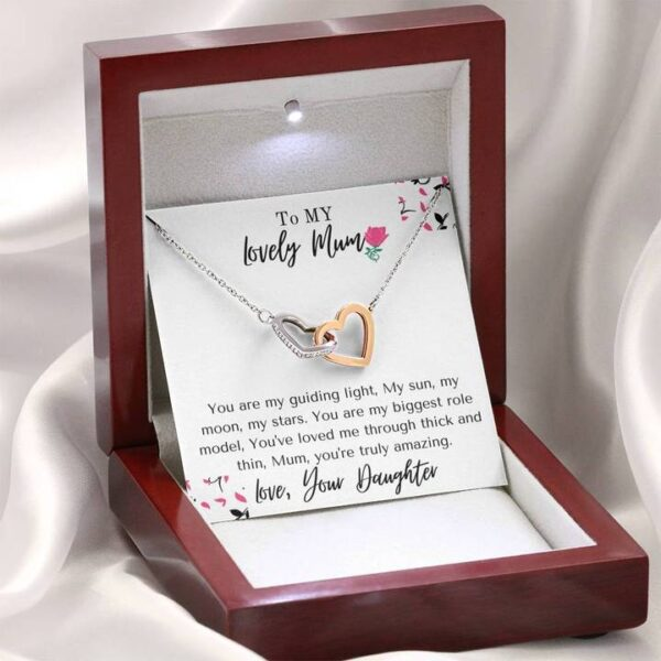 Amazing Mum Mothers Day Gift - Cubic Zirconia Stones, Interlocked Necklace1f-mahogany
